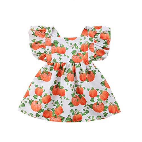 VISGOGO Newborn Kids Baby Girls Dress Halloween Pumpkin Print Party Pageant Dresse (Square Neck#3, 2-3 Years)