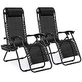 Sillas Zero Gravity de Best Choice Products Funda con 2 sillas negras de descanso para patio jardín al aire libre playa nuevas, Negro