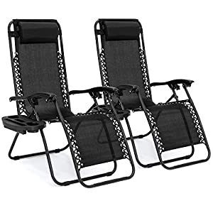Best Choice Products Zero Gravity Chairs Case Of (2) Black Lounge Patio