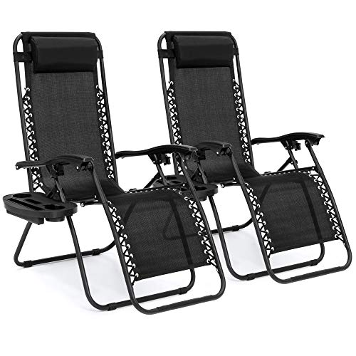 Best Choice Products Set of 2 Adjustable Steel Mesh Zero Gravity Lounge Chair Recliners w/Pillows and Cup Holder Trays