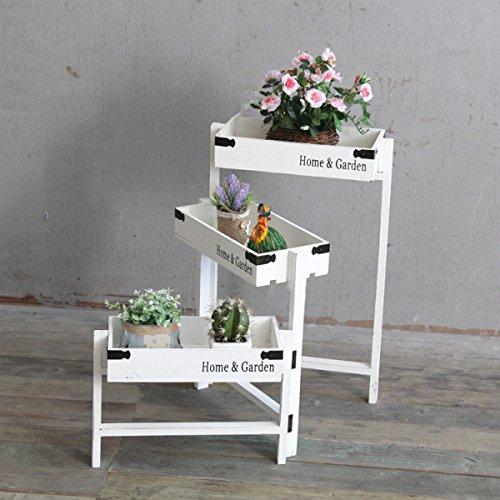 TongN Pot de fleurs Rack VintageAmerican Style Village échelle stockage décoration fenêtre balcon meubles en bois massif, blanc (43.7 * 14.4 * 22.4 pouces) (Couleur : Blanc)