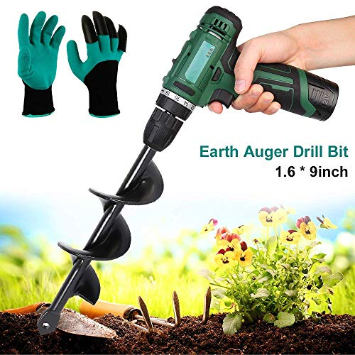 Gartenbohrer Spiralbohrer für Pflanzen, Gartenbohrer, Bagger, Pflanzgerät, für Sechskant-Antrieb, mit einem Paar Gartenhandschuhen