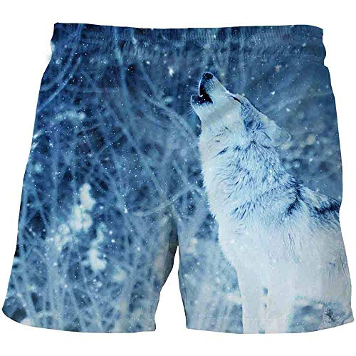 YNYEZBH Plant Snow Wolf Summer 3D Shorts Estudiante Deportes Pantalones de Secado rápido Pareja Pantalones Cortos de natación en la Playa