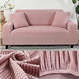 LINL Sofá Cama Jacquard protección sólida y setos Gruesos para Cubrir sofá Viviente para sofá Impreso,Rosado,190-230cm 3 Lugares
