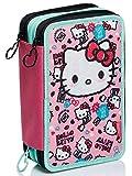Astuccio 3 Scomparti Hello Kitty, Fabulous, Rosa, Portapenne Scuola completo di matite, pennarelli…