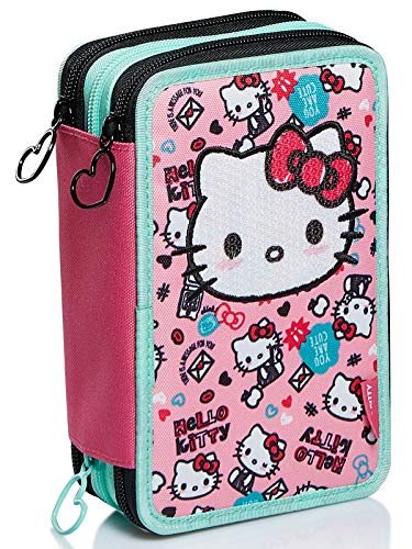 Astuccio 3 Scomparti Hello Kitty, Fabulous, Rosa, Portapenne Scuola completo di matite,...