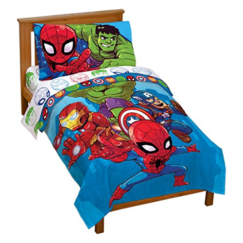 Marvel Super Hero Adventures Avengers Heroes Amigos 4 Piece Toddler Bed Set – Super Soft Microfiber Bed Set – Bedding Features Captain America, Hulk, Iron Man, & Spiderman (Official Marvel Product)