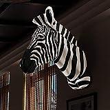 Cabeza de cebra colgante de pared accesorios para el hogar resina animal cabeza de ciervo colgante de pared colgante de pared colgante de pared decoración de la pared-Cabeza de cebra blanco y negro