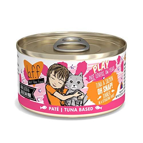 B.F.F. PLAY - Best Feline Friend Paté Lovers, Aw Yeah!, Tuna & Salmon Oh Snap! with Tuna & Salmon, 2.8oz Can (Pack of 12)