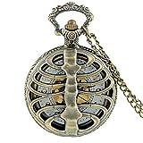 Negro Steampunk Espina Dorsal Costillas Hueco Cuarzo Reloj de Bolsillo Cadenas Vintage Hombres Mujeres cráneo Colgante Collar Reloj Regalo Bronce