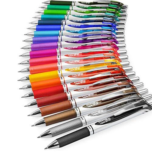 Pentel EnerGel XM BL77 - Penna a inchiostro gel liquido retrattile, 0,7 mm, 54% riciclato, 1 per colore, confezione da 20