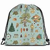 Hand Drawn Doodle Pattern Into Woods Nature Lumberjack Parks Outdoor Drawstring Backpack Bag Men & Women Sport Gym Bag