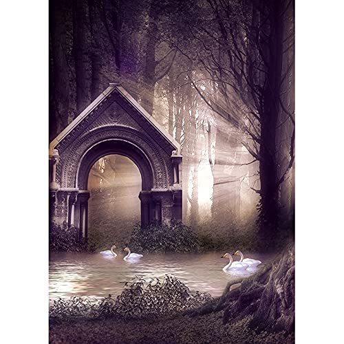 Vinile fantasia foresta castello fiaba bambini fotografia sfondo puntelli foto sfondo A15 10x7ft 3x2.2m
