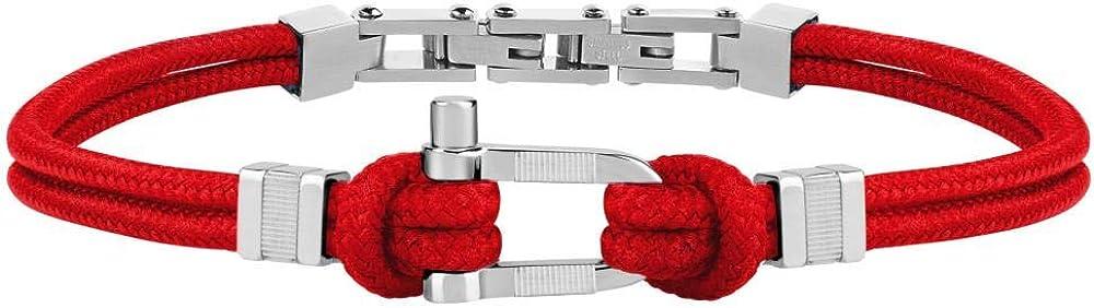 Morellato, bracciale da uomo, collezione versilia, in acciaio e nylon SAHB12