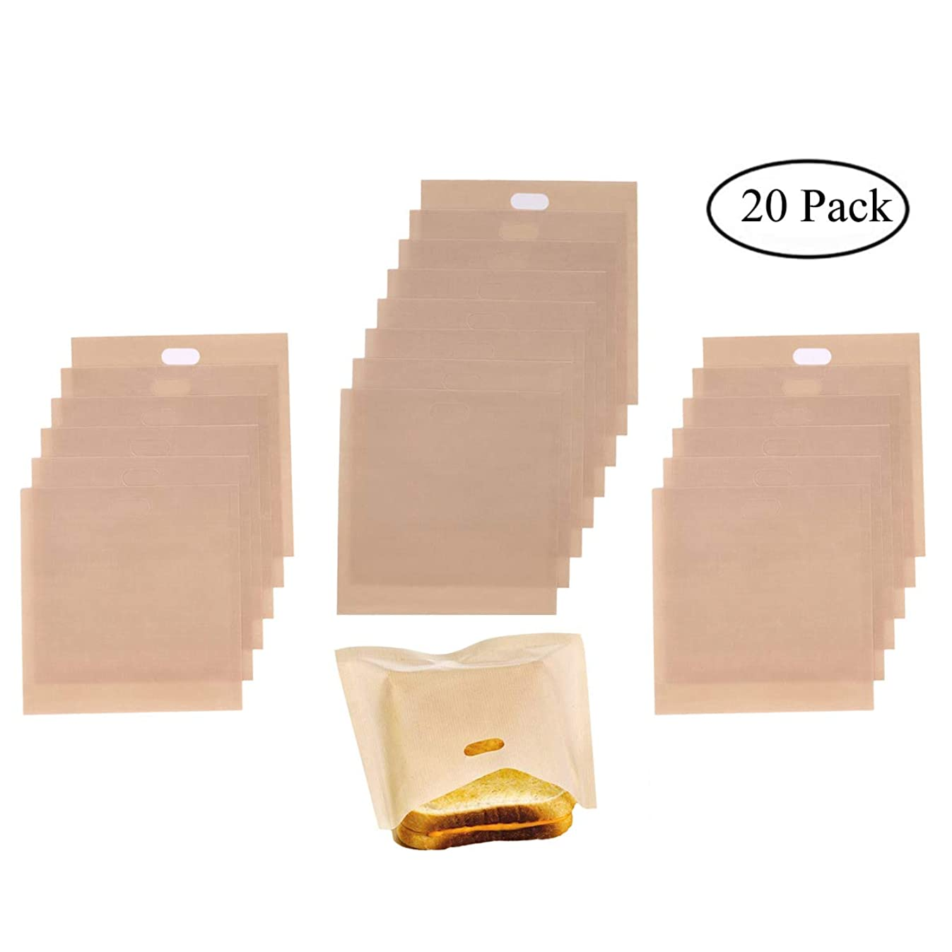 20 Pack Non Stick Toaster Bags, Homezal 3 Different Sizes Toaster Grilled Cheese Bags, Gluten Free, FDA Approved, Perfect for Sandwiches, Pastries, Pizza Slices, Chicken Nuggets and More