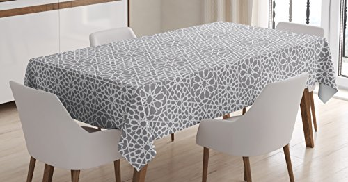Lunarable Grey Abstract Tablecloth, Eastern Moroccan Star Ornament with Traditional Grid Design Persian Tile, Rectangular Table Cover for Dining Room Kitchen Decor, 60