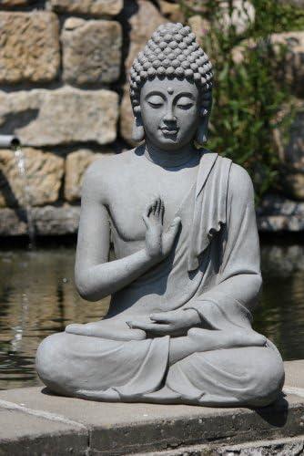 Stone-Lite Figura de Buda Sentado con Gesto de la Mano - para casa y jardín - Altura 73 cm - Gris Oscuro: Amazon.es: Jardín