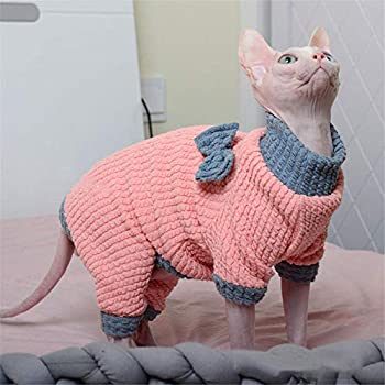 HCYD Chat vêtements Pulls Plus épais Chatons Sphinx Chats Hiver Petits Chiens, M, Rose