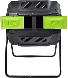 EJWOX Composting Tumbler 43 Gallon, Dual Rotating Compost Bin, Green (Renewed)