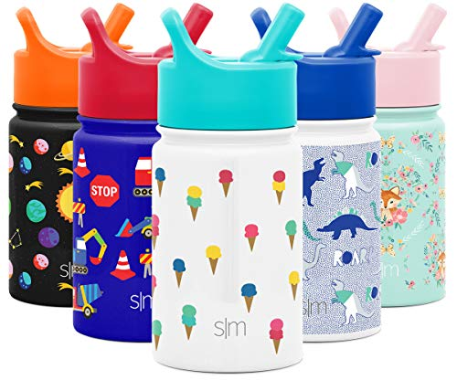 Simple Modern 10oz Summit Kids Water Bottle Thermos with Straw Lid - Dishwasher Safe Vacuum Insulated Double Wall Tumbler Travel Cup 18/8 Stainless Steel -Ice Cream Cones
