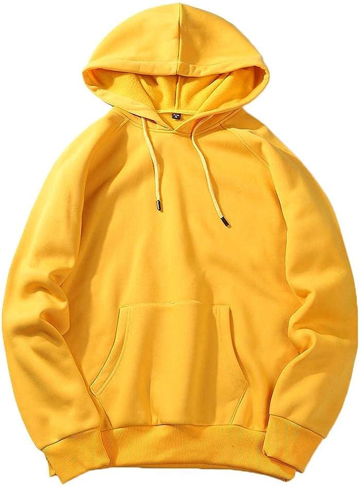 Qsctys Men's Fleece Hooded Sweatshirts Big and Tall - Crewneck Solid Color Casual Fashion Hoodies & Sweatshirts with Pocket