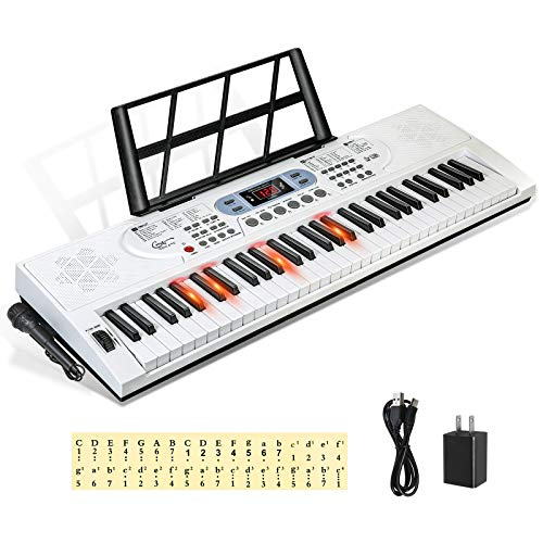 Hricane 電子 キーボード ピアノ 61鍵盤 200種類音色 200種類リズム 70曲デモ曲 LCDディスプレイ搭載 楽器 光る鍵盤 日本語パネル ヘッドフォン対応 録音機能 トランスポーズ機能 子供 初心者 練習用 日本語説明書付き (ホワイト)