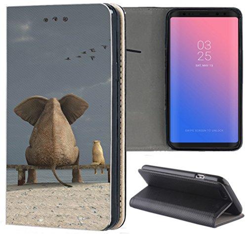 Samsung Galaxy S3 / S3 Neo Hülle Premium Smart Einseitig Flipcover Hülle Samsung S3 Neo Flip Case Handyhülle Samsung S3 Motiv (1415 Elefant Meer Strand Lustig Tier)