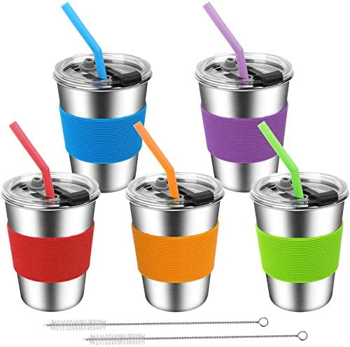 ShineMe Kids Stainless Steel Cups Kids Metal Drinking Glasses with Lids Silicone Straws and product image