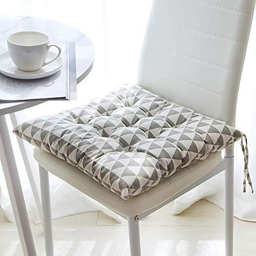 Set di 6 cuscini quadrati in cotone per divano e sedie, con cinghie, cuscini per sedie e sedie per sala da pranzo (grigio triangolo, 6 pezzi, 40 x 40 x 8 cm)