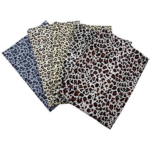 ABOOFAN 5 piezas de tela de algodón con estampado de leopardo, estilo navideño, se vende por metros, tejido de algodón para acolchar, coser, manualidades, patchwork, para fiestas, regalos y decoración