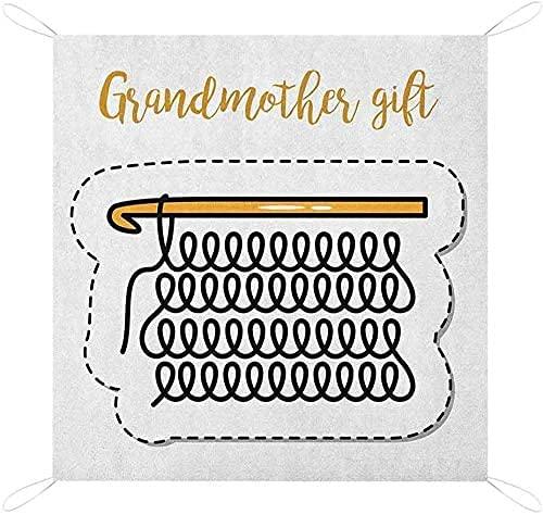 Mormor Picnic Blanke Stickning Design och Handbokstäver Illustration med Vintage Inspirationer Anpassad Picknick Blanke Marigold Svart Picknick Korg Vattentät Picknick