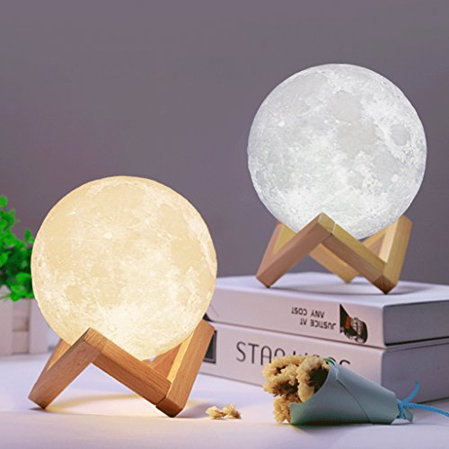 Hergon 1 Pcs Full Moon Lamp, 3D LED Night Modern Floor Lamp with Dimmable Touch Control Brightness USB Charging,Christmas Party Home Decor,Christmas Gift (10)