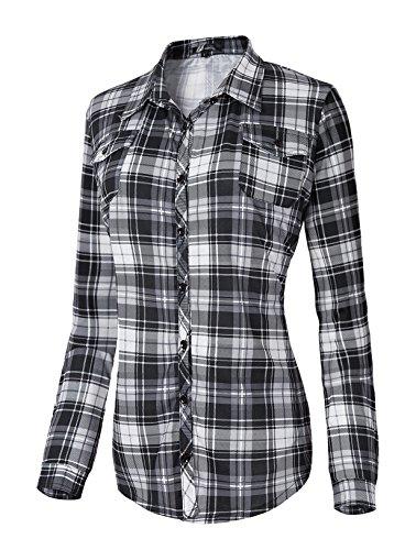 Damen Karierte Blusen Langarmhemd Karierte Bluse Plaid Shirt (S, 5)