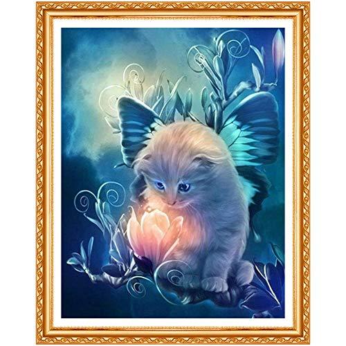 Diy 5D Diamante Pintura Kits, Gato Animal 5D Diamond Painting Completo Bordado Punto De Cruz Diamante Craft Decoración Del Hogar 30 * 40Cm
