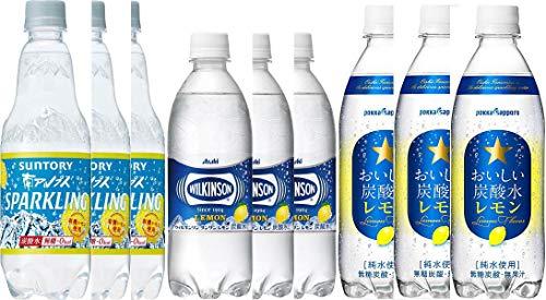 炭酸レモンセット(アサヒ ウィルキンソン8本 サッポロおいしい炭酸水8本 サントリー南アルプスの天然水スパークリングレモン8本) ペットボトル 500ml