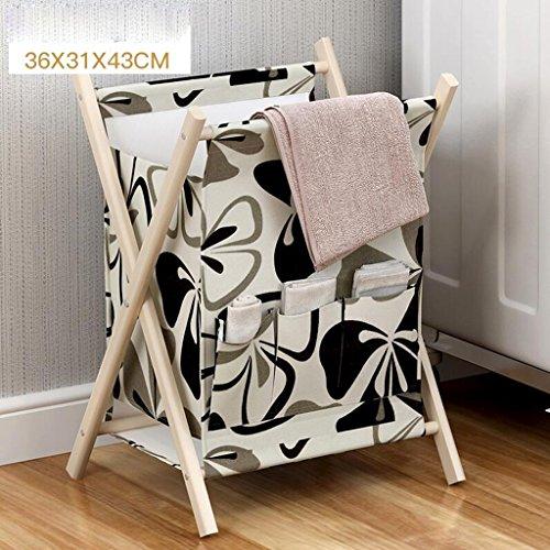 Xuan - Worth Another Noir et Blanc Motif Floral Vêtements Panier de Rangement Rangement en Tissu Rangement Pliant Rangement Multifonctionnel