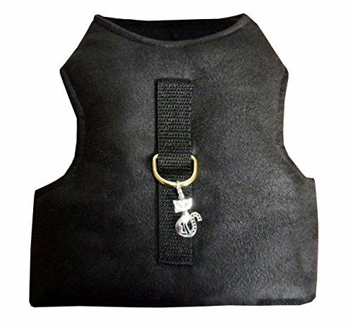 Kitty Jacket Katzengeschirr ausbruchsicher schwarz Art Leder für Kätzchen Größe L, Hals: 26-32cm, Brust: 41-55 cm