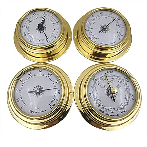wisedwell Wetterstation Analog Barometer Thermometer Hygrometer Barometer Uhr Messingschale Rahmen 4-teiliges Set auf Schiffe, Fabriken, Labors, Familien 98mm
