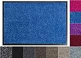Jan Max Alfombra para atrapar la Suciedad - 8 Colores - Felpudo con 2900g/m2 de Fibra PP Twisted Heatset - 2,4l/m2 de absorción de Humedad - Alfombra para Correr Limpia 40 x 60 cm Azul