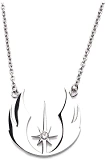 Star Wars Officially Licensed Women's Stainless Steel Jedi Order CZ Necklace