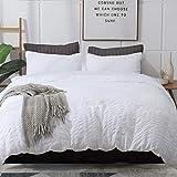 AveLom Seersucker Stripe Duvet Cover Full (80 x 90 Inches), 3 Pieces White Zipper Closure Corner Ties Soft Washed Microfiber Duvet Cover for Men,Women