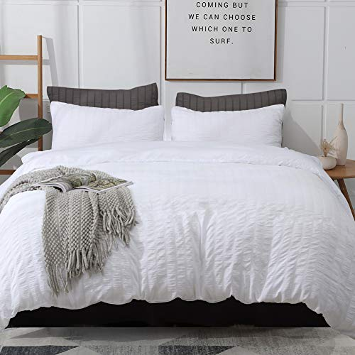 cheap duvet covers kings AveLom Seersucker Duvet Cover Set King Size (104 x 90 inches), 3 Pieces (1 Duvet Cover + 2 Pillow Cases), White Ultra Soft Washed Microfiber, Textured Duvet Cover with Zipper Closure, Corner Ties