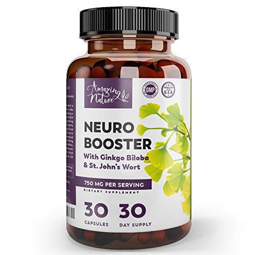 Neuro Booster Nootropics and Brain Supplement for Memory, Brain Support, Clarity, Focus, Mood Boost, Anti Anxiety & Stress Relief with Gingko Biloba, Bacopa Monnieri, St. John's Wort & More