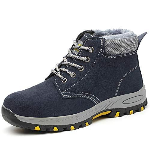 Chaussure de Sécurité fourrées en Acier Toe Chaude pour Hiver Basket de Travail Basket Respirant Anti-crevaison Chaussures de Protection Blue 35 EU