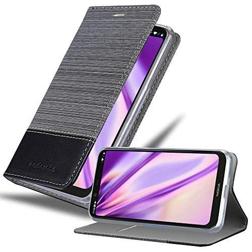 Cadorabo Hülle für Nokia 5.1 Plus in GRAU SCHWARZ - Handyhülle mit Magnetverschluss, Standfunktion & Kartenfach - Hülle Cover Schutzhülle Etui Tasche Book Klapp Style