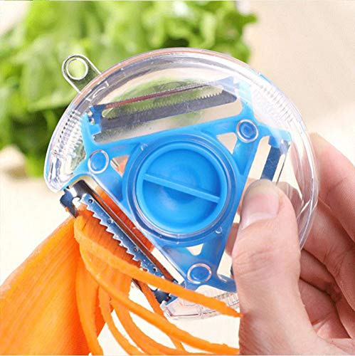 Peeler 4 in 1 Kitchen ABS Stainless Steel Multi-Function Peeler for Kitchen Vegetables, Potatoes and Carrots (Blue)