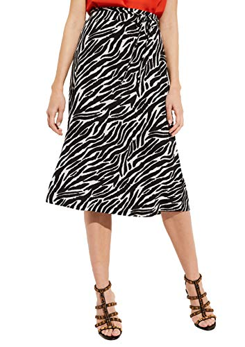 comma Damen Langer Jerseyrock mit Two Tone-Allovermuster Black AOP Zebra Lines 36