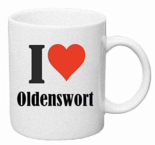 Reifen-Markt Kaffeetasse I Love Oldenswort Keramik Höhe 9,5cm ? 8cm in Weiß