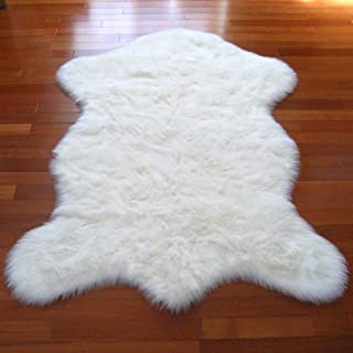 Classic White Sheepskin / Polar Bear Pelt Shape Rug - Top Quality Faux Fur Rugs - New From France (2x4, 3x5 & 5x7) (5x7 (actual 56