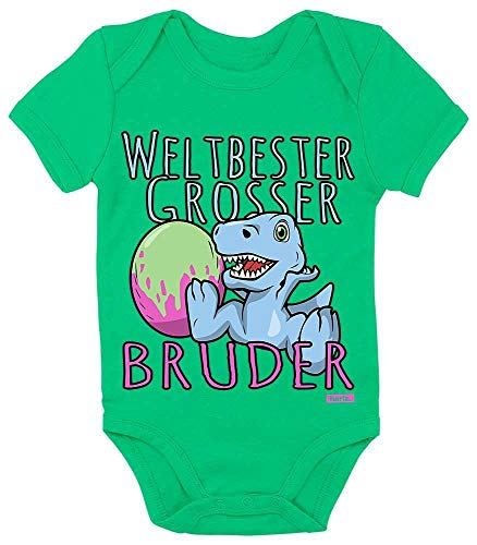 HARIZ Baby Body Kurzarm Weltbester Grosser Bruder Dino Ei Geburtstag Bruder Baby Inkl. Geschenk Karte Frosch Quietsch Grün 0-3 Monate